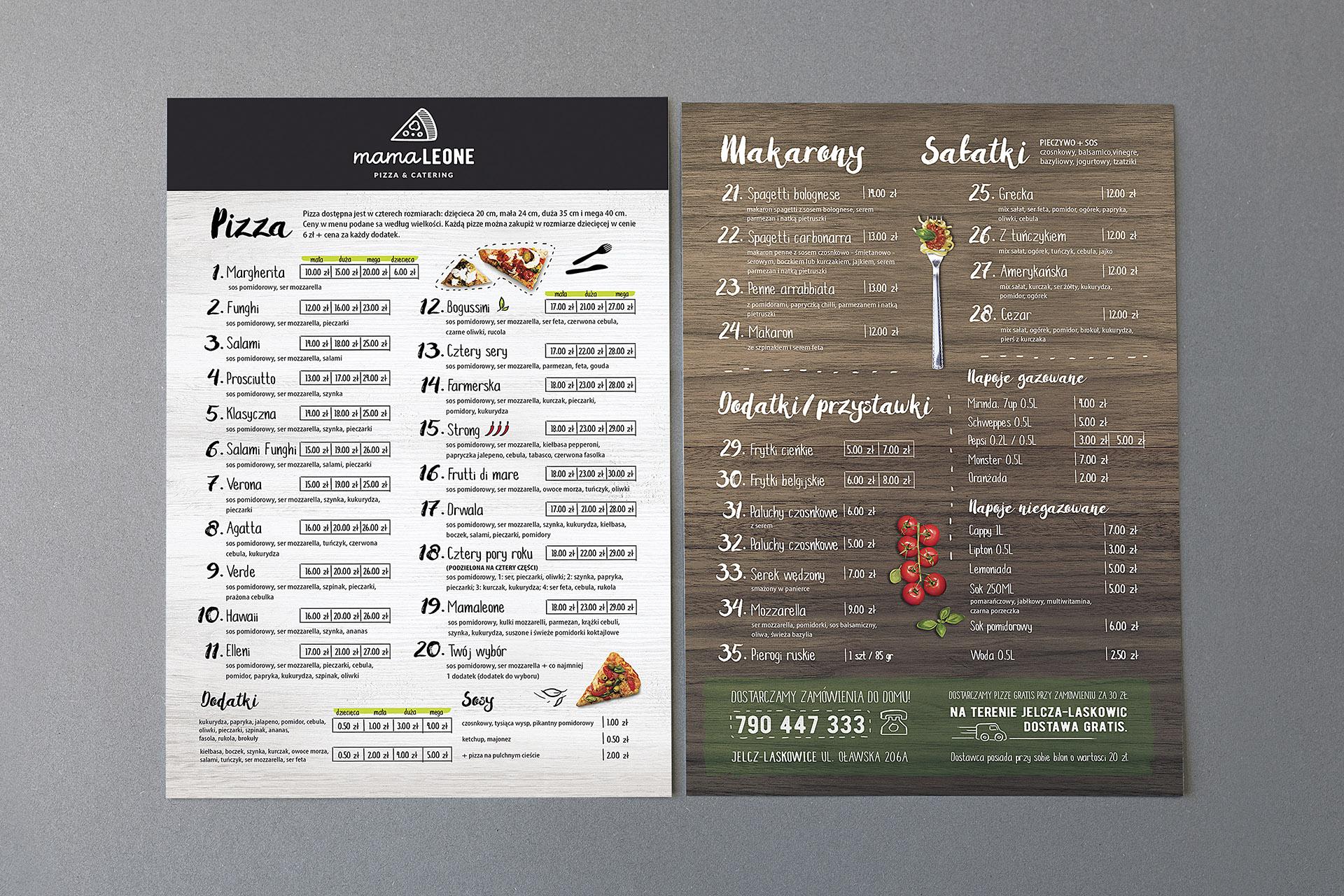 Mamaleone menu dostawa
